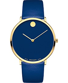 Swiss Modern Blue Leather Strap Watch 40mm