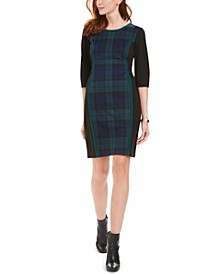 Petite Colorblocked Plaid Sheath Dress