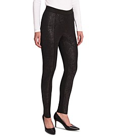 Foiled Ponté-Knit Leggings