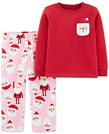 Baby Girls 2-Pc. Fleece Santa Pajamas Set