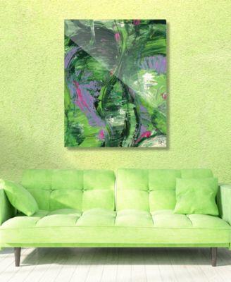 """Wild Crane on Geeen Abstract 20"""" x 24"""" Acrylic Wall Art Print"""