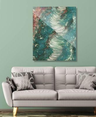 """Tornado Lontano on Teal Abstract 16"""" x 20"""" Acrylic Wall Art Print"""