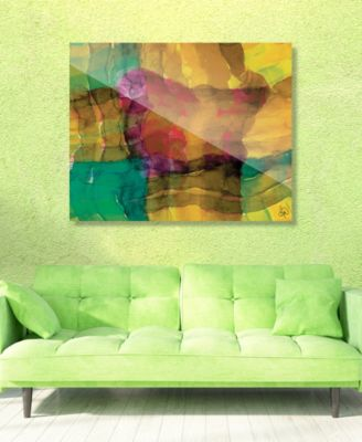 "Quadretto Scozesein Yellow Abstract 24"" x 36"" Acrylic Wall Art Print"