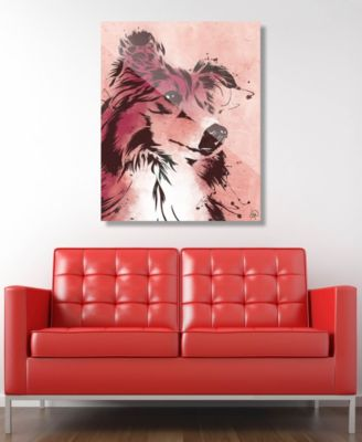 """Drippy Sheltie Dog in Brown on Red 24"""" x 36"""" Acrylic Wall Art Print"""