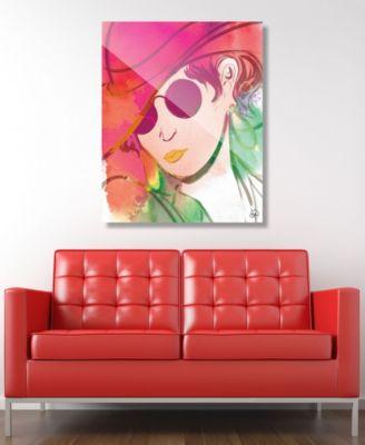 "Scarlet Wash Diva Abstract 16"" x 20"" Acrylic Wall Art Print"