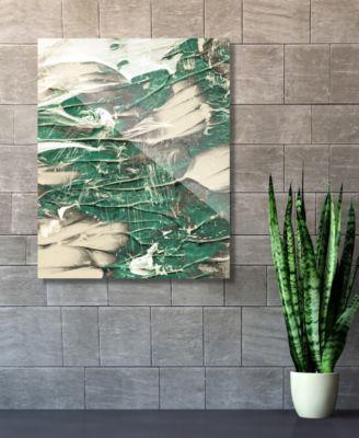 "Paint Swipe Teal Green White Abstract 16"" x 20"" Acrylic Wall Art Print"