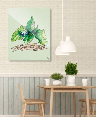 "Watercolor Mint on Green 20"" x 24"" Acrylic Wall Art Print"