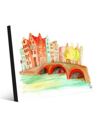 """Bridge Over The Canal in Orange Abstract 20"""" x 24"""" Acrylic Wall Art Print"""