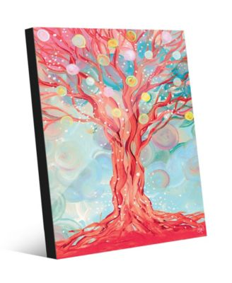 """Dream Bubble Tree in Red Abstract 24"""" x 36"""" Acrylic Wall Art Print"""