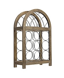 American Art Decor Rustic Wood 9 Bottle Wine Rack