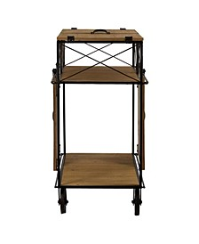 American Art Decor Rustic Barn Door Rolling Bar Cart
