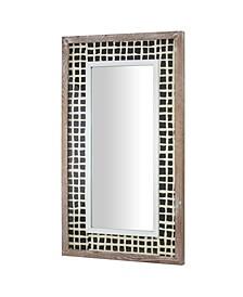 American Art Decor Wood Wall Mirror with Handmade Rice Paper