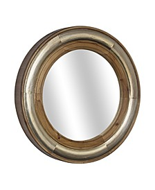 American Art Decor Round Wood Framed Mirror