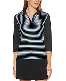 Striped 3/4-Sleeve Polo