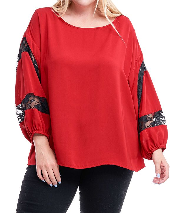 Fever Plus Size Lace-Trim Blouson-Sleeve Top