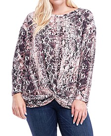 Plus Size Printed Knot-Hem Top