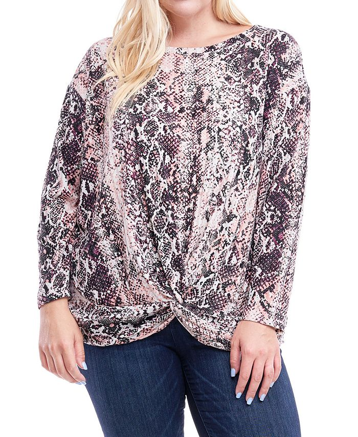 Fever - Plus Size Printed Knot-Hem Top