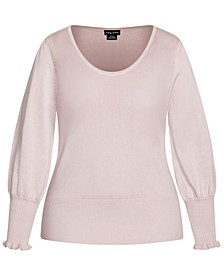 Trendy Plus Size Blouson-Sleeve Sweater