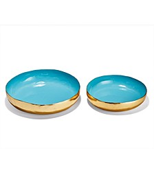 Circles Turquoise Decor Lacquer Round Tray - Set of 2