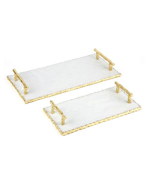 Two's Company Marble Trays with Golden Edge and Bamboo Handles - Set of 2