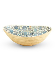 Dots Mother of Pearl Decorative Bamboo Bowl