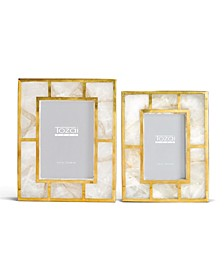 White Quartz Photo Frames with Brass Trim in Gift Box - Set of 2