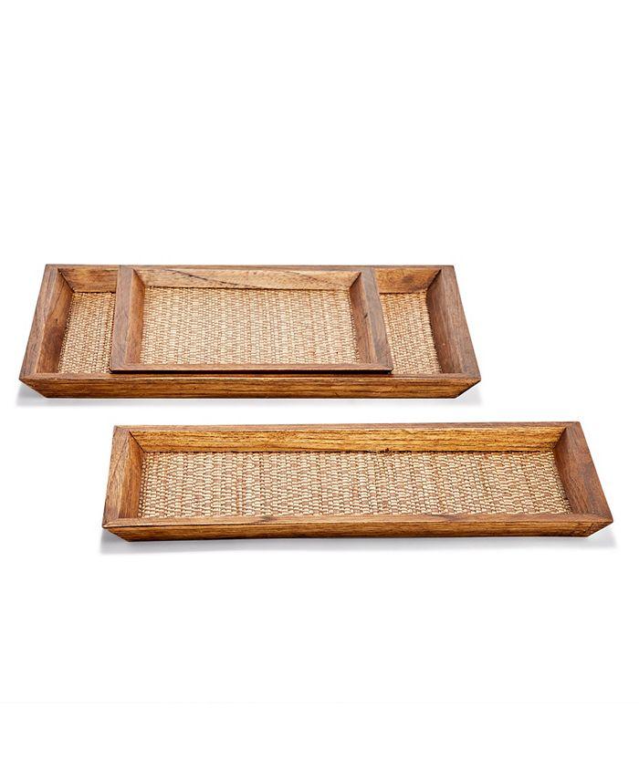 Two's Company - Set of 3 Teak Decorative Trays Bamboo/Teak