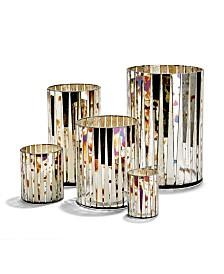 Antiqued Mirror Mosaic Vase/Candle holders - Set of 5