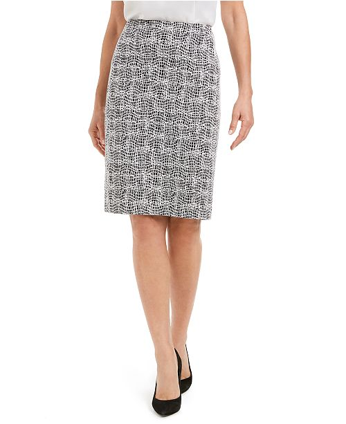 Kasper Jacquard Pencil Skirt
