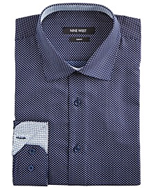 Men's Slim-Fit Wrinkle-Free Performance Stretch Navy & White Dots Print Dress Shirt