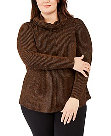 Plus Size Metallic Cowl-Neck Sweater