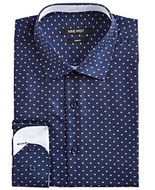 Men's Slim-Fit Wrinkle-Free Performance Stretch Navy Ground with Red & White Print Dress Shirt