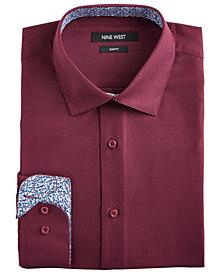 Nine West Men's Slim-Fit Wrinkle-Free Performance Stretch Burgundy Dress Shirt