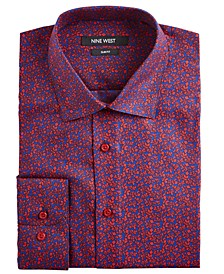 Men's Slim-Fit Wrinkle-Free Performance Stretch Navy & Red Floral Print Dress Shirt