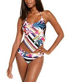 Treasure Cove Printed Scarf Halter Tankini Top & Shirred Side Hipster Bottoms