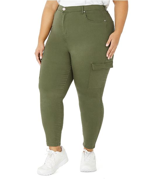 Celebrity Pink Trendy Plus Size High-Rise Skinny Cargo Pants