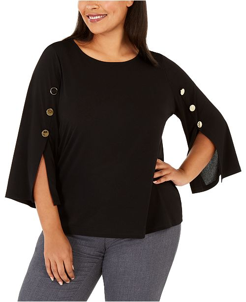 Kasper Plus Size Button-Trim Split-Sleeve Top