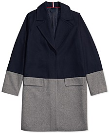 Women's Wool Coat With Hidden Snap Closure