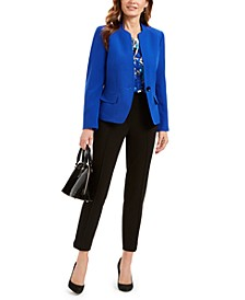 Petite Stand Collar Blazer, Printed Shell Blouse & Button-Detail Pants