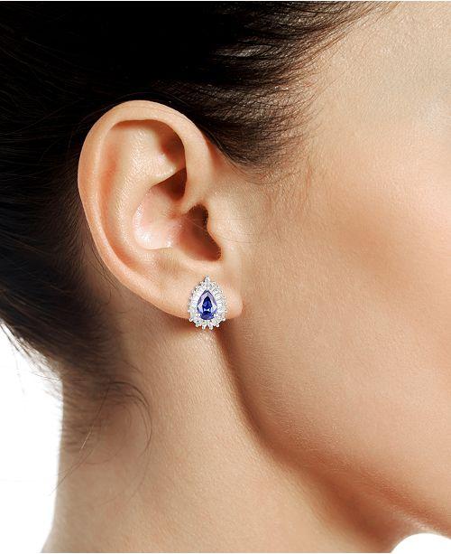 Tanzanite 3 4 Ct T W Diamond 1 Stud Earrings In 14k White Gold