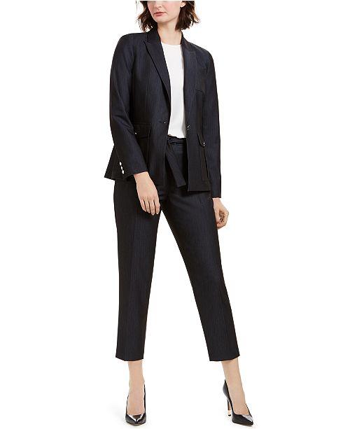 Calvin Klein One-Button Blazer & Tie-Waist Pants