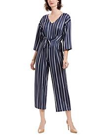 Petite Striped 3/4-Sleeve V-Neck Jumpsuit