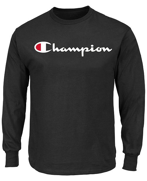 Champion Men's Big and Tall Script Long Sleeve Tshirt