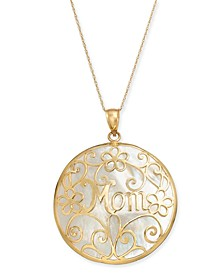 "Mother-of-Pearl Mom Flowery 18"" Pendant Necklace in 14k Gold"