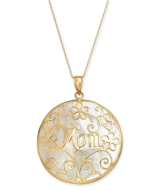"""Macy's Mother-of-Pearl Mom Flowery 18"""" Pendant Necklace in 14k Gold"""