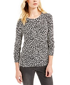 Cat-Print Sweater, Regular & Petite Sizes