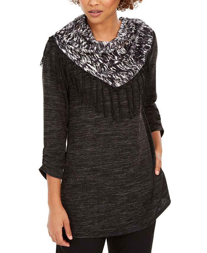 NY Collection - Petite Top With Removable Scarf