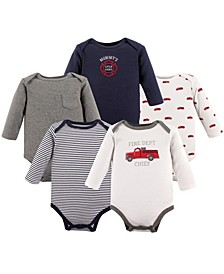 Long Sleeve Bodysuits, 5-Pack