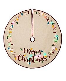 LED Embroidered Linen Christmas Tree Skirt - Merry Christmas