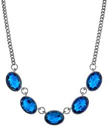 Black-Tone Oval Collar Necklace